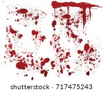 set of various dripping blood... | Shutterstock .eps vector #717475243