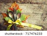 autumn table setting ... | Shutterstock . vector #717476233