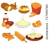 potato food dishes snacks and... | Shutterstock .eps vector #717490783