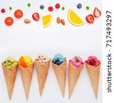 various of ice cream flavor in... | Shutterstock . vector #717493297