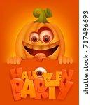 halloween party poster template ...   Shutterstock .eps vector #717496693