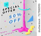 vector bright abstract memphis... | Shutterstock .eps vector #717500593