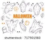 ghosts for halloween on white... | Shutterstock .eps vector #717501583