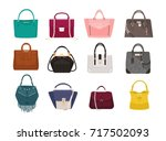set of stylish women's handbags ... | Shutterstock .eps vector #717502093