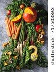 variety of autumn harvest... | Shutterstock . vector #717503863