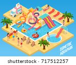 colored water park aquapark... | Shutterstock .eps vector #717512257