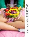 close up of pretty girl hands... | Shutterstock . vector #717519643