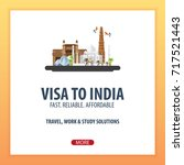visa to india. travel to india. ... | Shutterstock .eps vector #717521443