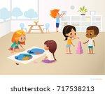 smiling kids doing different... | Shutterstock . vector #717538213