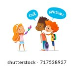 smiling amputee girl shows... | Shutterstock . vector #717538927