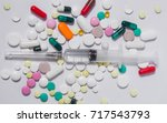 various medicines and vitamins  ... | Shutterstock . vector #717543793