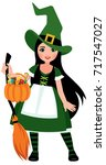 cute girl in halloween witch... | Shutterstock .eps vector #717547027