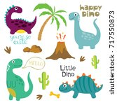 cute vector dinosaurs isolated... | Shutterstock .eps vector #717550873