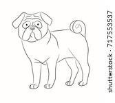 pug contour | Shutterstock .eps vector #717553537