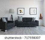 white room interior. 3d...   Shutterstock . vector #717558307