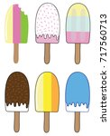 summer ice block popsicles   Shutterstock . vector #717560713