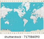 world map americas centered map ... | Shutterstock .eps vector #717586093