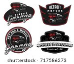 set of retro car logo  emblems... | Shutterstock .eps vector #717586273