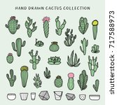 hand drawn cactus set.... | Shutterstock .eps vector #717588973