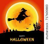 happy halloween.   witch  ...   Shutterstock .eps vector #717600883