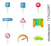 traffic sign icons set. cartoon ... | Shutterstock .eps vector #717612397
