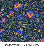 vector seamless pattern. floral ... | Shutterstock .eps vector #717614497
