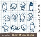 Set of hand drawn freaks. Layered. Vector EPS 10 illustration. - stock vector