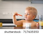 adorable one year old baby boy... | Shutterstock . vector #717635353