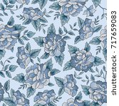 floral pattern. flower seamless ... | Shutterstock .eps vector #717659083