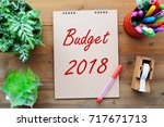 budget 2018 on brown paper... | Shutterstock . vector #717671713