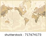 vintage physical world map... | Shutterstock .eps vector #717674173