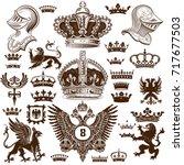 heraldry elements set | Shutterstock .eps vector #717677503