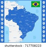 the detailed map of the brazil... | Shutterstock . vector #717708223