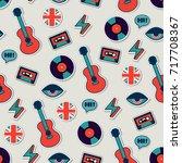 music vector seamless british... | Shutterstock .eps vector #717708367