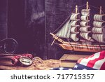 columbus day and world map with ... | Shutterstock . vector #717715357