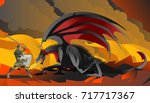 knight hero fighting a black... | Shutterstock .eps vector #717717367