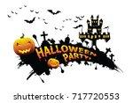 halloween vector lettering... | Shutterstock .eps vector #717720553