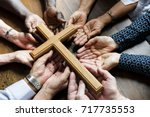 group of christianity people... | Shutterstock . vector #717735553