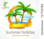 tropical palm trees again... | Shutterstock .eps vector #717754783