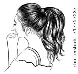 hand drawn beauty woman with... | Shutterstock .eps vector #717757237