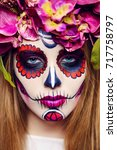 closeup portrait of calavera... | Shutterstock . vector #717758797