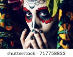 Stock photo closeup portrait of calavera catrina young woman with sugar skull makeup dia de los muertos day 717758833