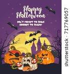 happy halloween vector greeting ...   Shutterstock .eps vector #717769057
