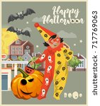 happy halloween vector greeting ...   Shutterstock .eps vector #717769063