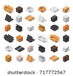 cardboard boxes color set...   Shutterstock .eps vector #717772567