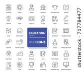 line icons set. education pack. ... | Shutterstock .eps vector #717784477