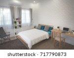 white bedroom interior. | Shutterstock . vector #717790873