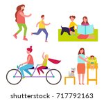 mothers and children collection ... | Shutterstock .eps vector #717792163