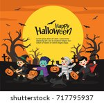 children dressed in halloween... | Shutterstock .eps vector #717795937