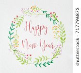 happy new year on hand painting ... | Shutterstock . vector #717796873